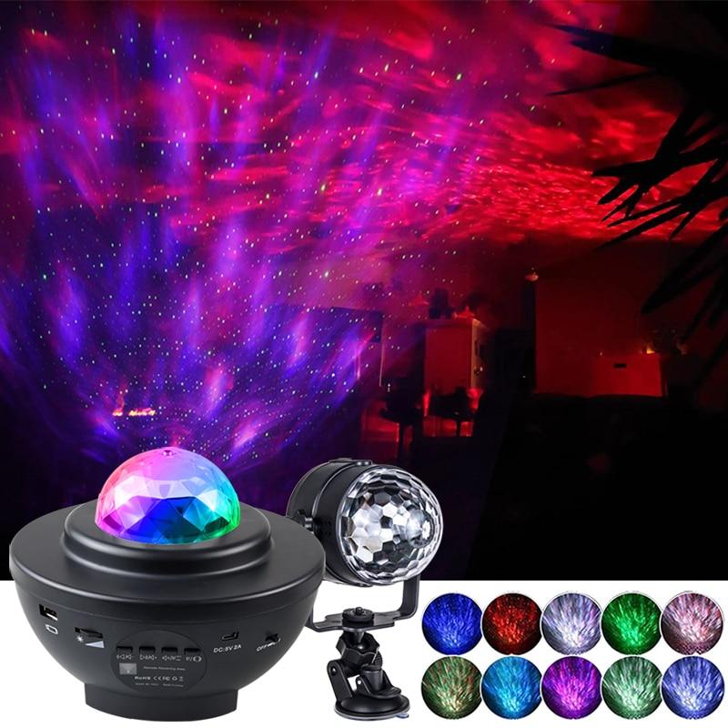 Colorido céu estrelado galaxy projetor nightlight criança blueteeth usb leitor de música estrela noite luz romântico lâmpada projeção presentes