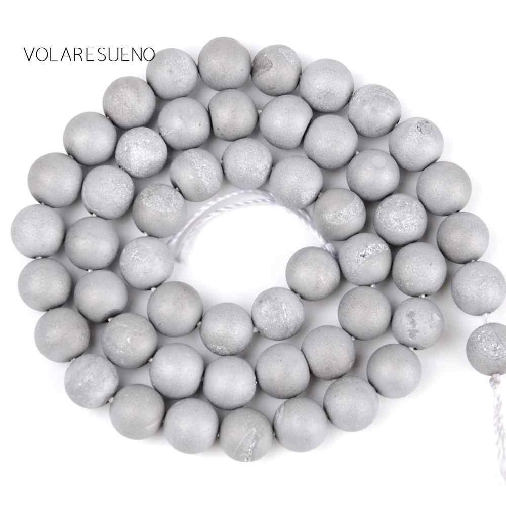 """メタリック被覆された銀 Druzy 瑪瑙石ラウンドルース Beads15 """"ストランドピック 6-12 ミリメートルスペーサービーズためネックレスジュエリーメイキング"""