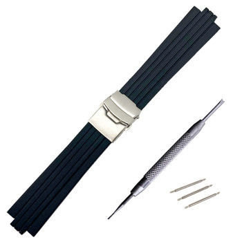 24mm x 11mm Silicone Rubber Watchband For Oris Aquis Watch Band Convex Strap Stainless Steel Safety Buckle Wrist Bracelet Black 24mm silicone rubber watch band for sony smartwatch 2 sw2 dual brush 316l stainless steel buckle strap wrist belt bracelet black