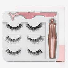3 pares magnético cílios vison 3d cílios magnético à prova dmagnetic água eyeliner pinça magnética cílios postiços artesanal lash maquiagem