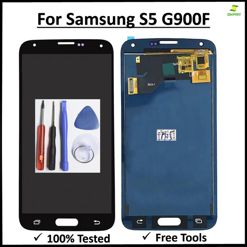 <font><b>Super</b></font> <font><b>Amoled</b></font> lcd scree For <font><b>Samsung</b></font> Galaxy <font><b>S5</b></font> G900 G900F LCD <font><b>Display</b></font> Screen Touch Digitizer Assembly For <font><b>S5</b></font> G900F LCDS+Free Tool image