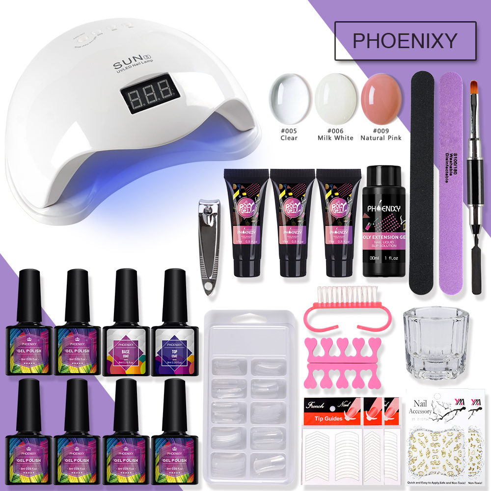 Complete Poly Gel Set With 36W UV Lamp For Nail 8ml Gel Polish Set Extension Builder Gel Kit Tools Polygel Nail Kit Manicure Set