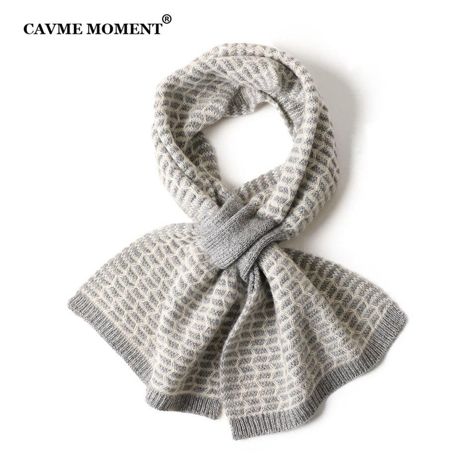 CAVME Knitting Cashmere Scarf for Women Kids Winter Soft Short Scarves 100% Cashmere 52g