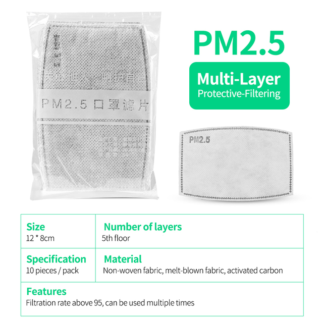 2/20/50pcs PM 2.5 Face Mask Filter Dust Anti Haze 5 Ply 95 Activated Carbon Filter Adults Mouth Masks Protection Respirator FPP2 3
