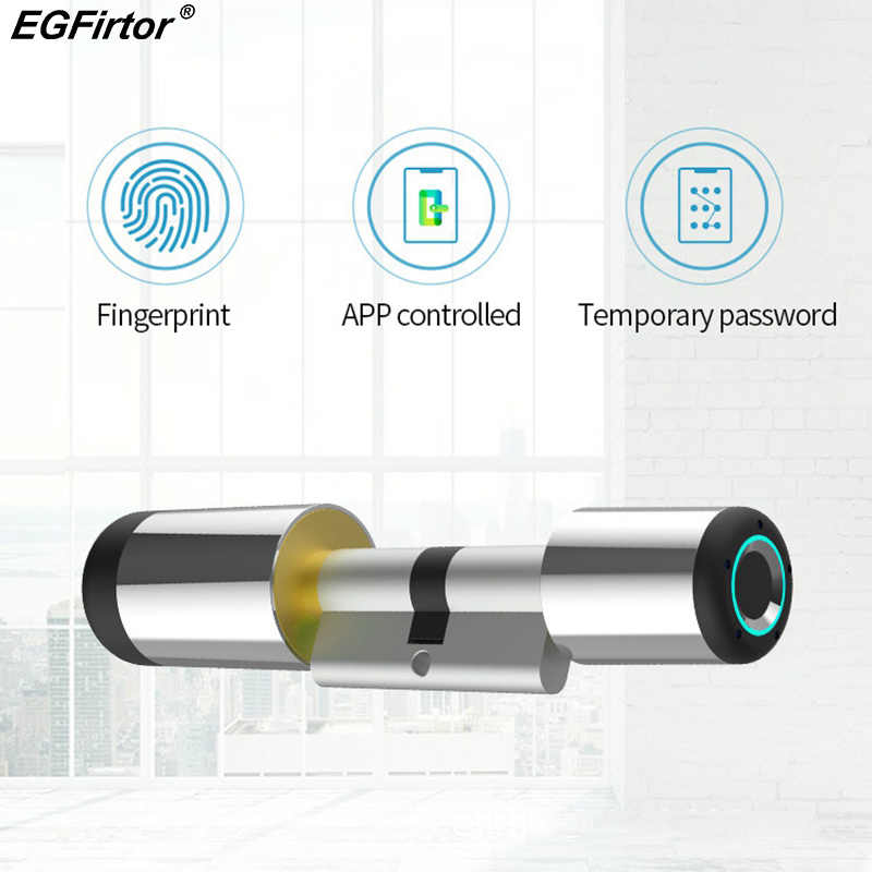 Wifi intelligente Serratura Elettronica Cilindro Bluetooth APP Biometrico di Impronte Digitali Anti-Furto di Blocco Serratura Intelligente Bluetooth Blocco di Sicurezza