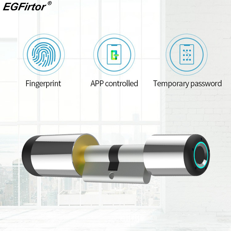 Smart Wifi Door Lock Electronic Cylinder Bluetooth APP Biometric Fingerprint Anti-Theft Lock Smart Lock Bluetooth Security Lock