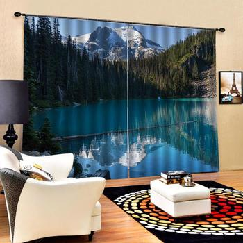 blue lake curtains landscape nature scenery curtain Luxury Blackout 3D Window Curtains For Living Room Bedroom Customized size