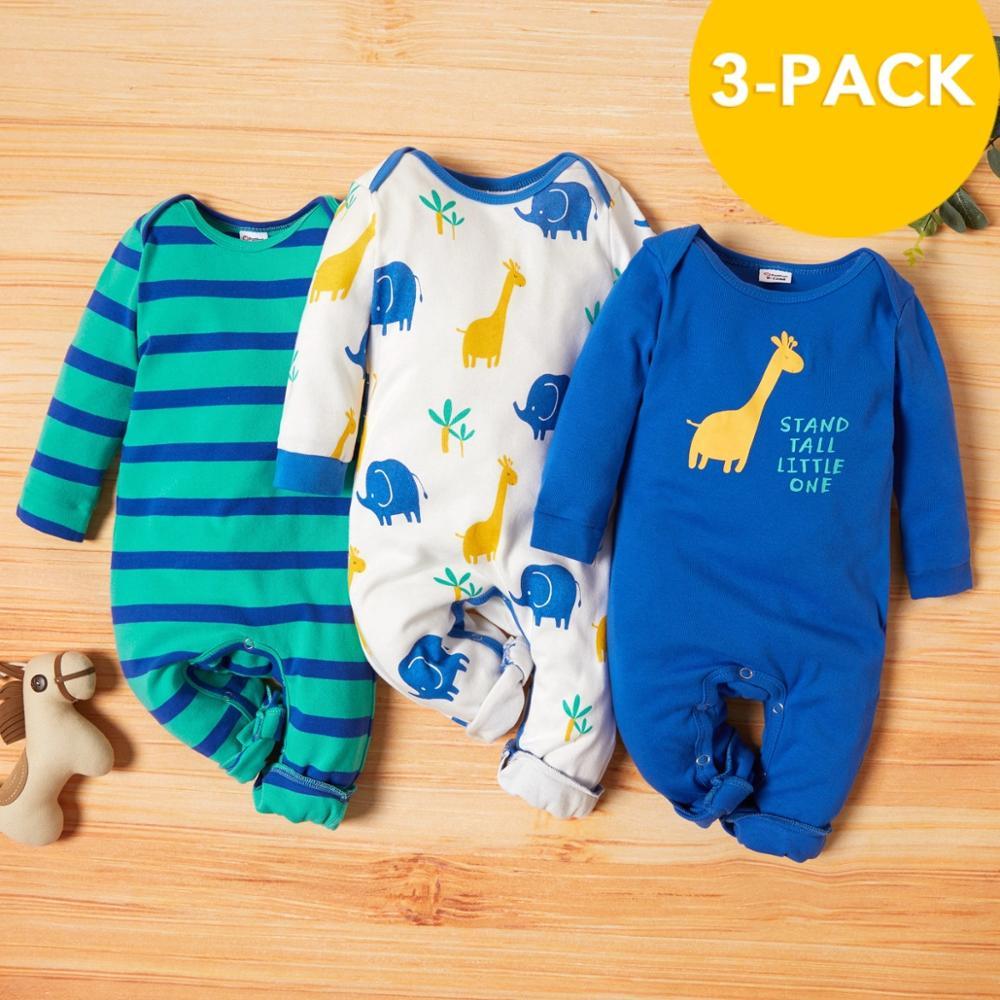 PatPat 2021 Новое поступление осень-зима 3 штуки в упаковке Детские Жираф комбинезоны, комплекты для маленьких мальчиков и одежда для девочек из одного предмета 2