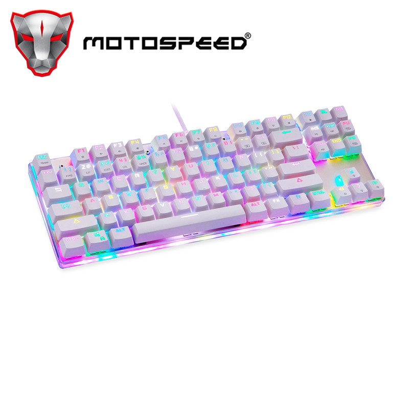 Motospeed K87S ABS USB2.0 Wired Mechanical Keyboard With RGB Backlight Blue Switch For Computer Gaming And Tying White 1.8mCable