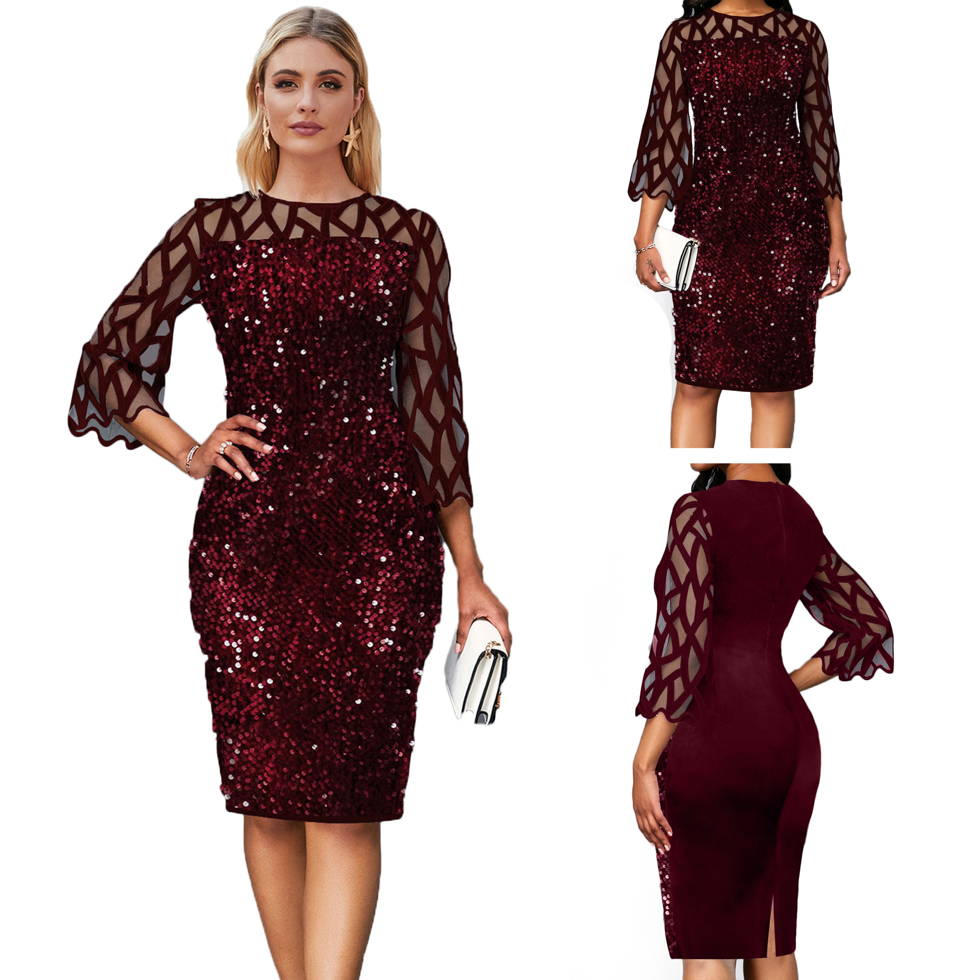 frican Dresses For Women 2020 Elegent Sequined New Arrival Fashion Style African Women Summer Plus Size Knee-length Dress