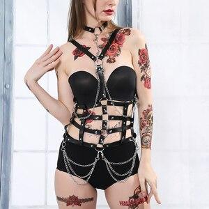 Image 3 - Fullyoung Taille Pu Leder Harness Bondage Gürtel Punk Brust Körper Hosenträger Riemen Frauen Sexy Körper Käfig Gürtel Dessous Harajuku