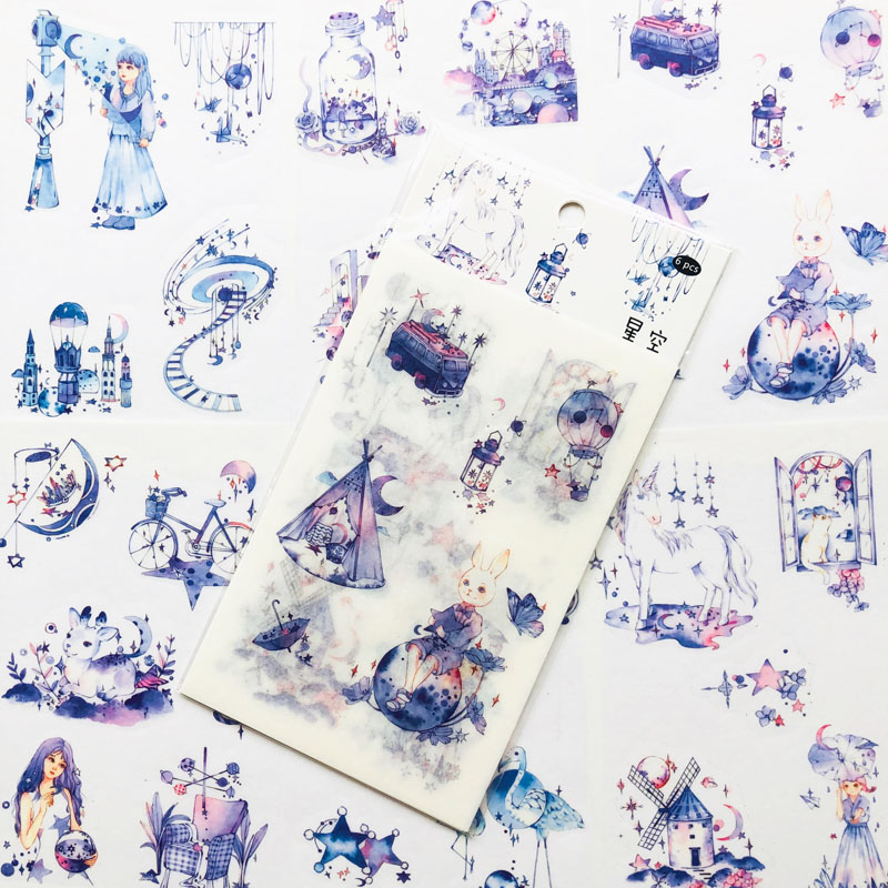 6 Sheets Purple Style Starry Sky World Paper Diary Stickers Decorative Album Hand Account Decoration