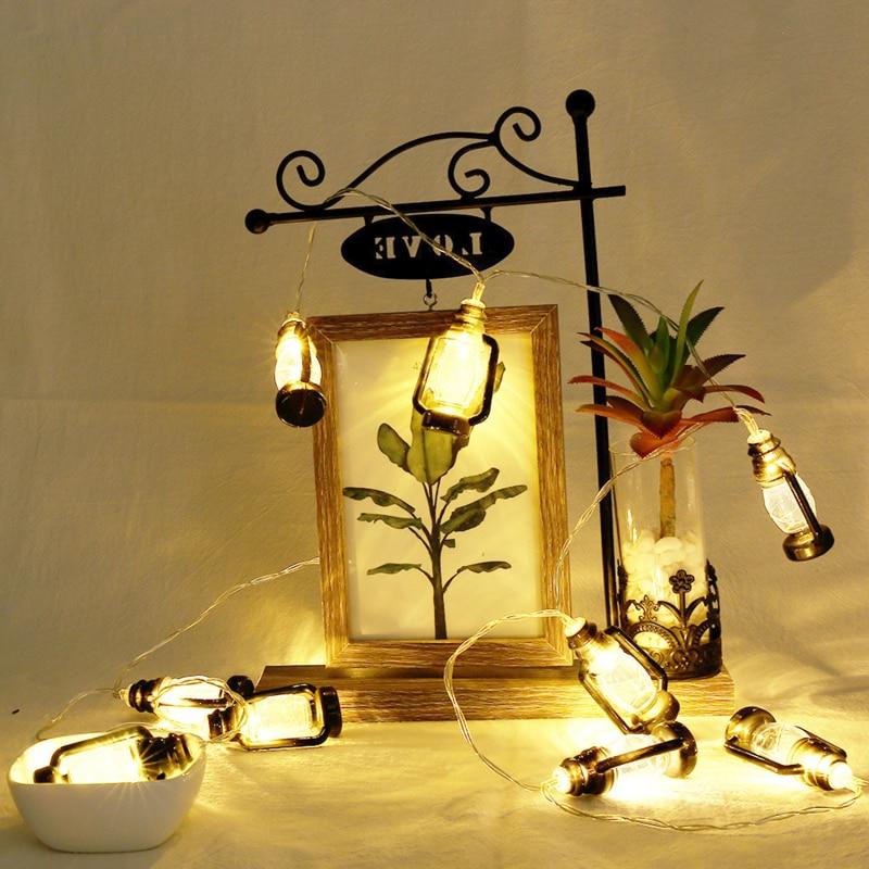Fairy Lights Islam Ramadan Lantern String Lights And Decorations Black Vintage Kerosene Lamp Shape Decorative Light String