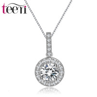 Zither Setting Sun Necklace S925 Fine Silver AAA Zircon Inlaid Simple Commuter Women's