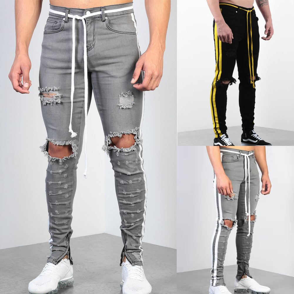 Men's Track Pants Casual Button Fly Sports Jogging Bottoms Fashion Side Stripe Joggers Gym Sweatpants Trousers Hole Pants