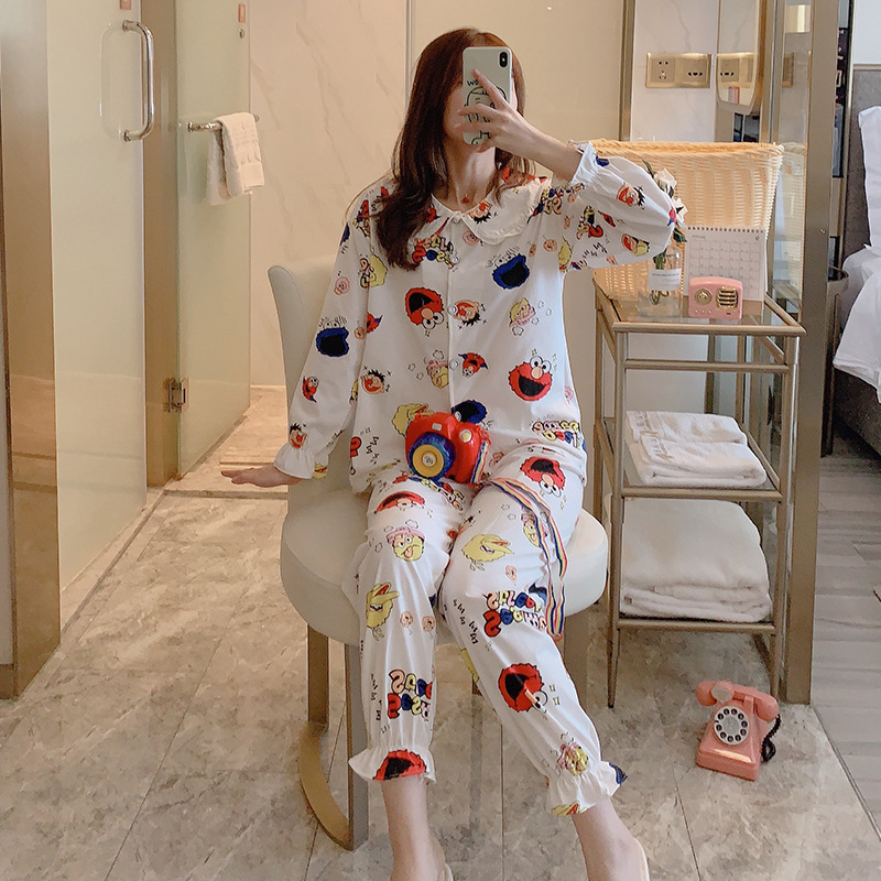 Korean-style Spring And Autumn Pajamas Women Long Sleeve Pure Cotton Cute Sweet Students Tracksuit Casual-Outer Wear Two-Piece S