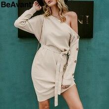 BeAvant Elegant one shoulder knitted dress women Fashion buttons sash female autumn dresses Casual loose winter ladies vestidos