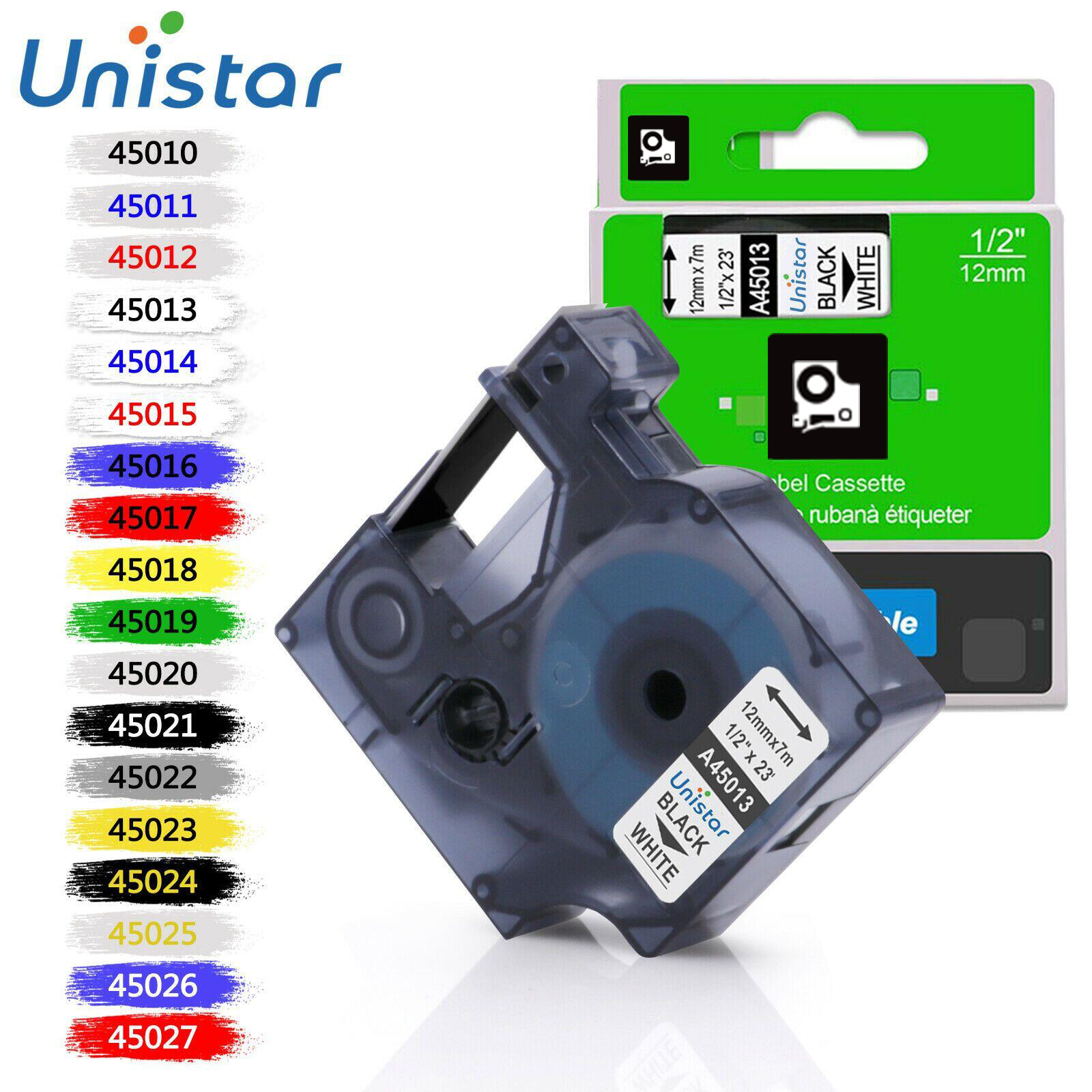 Unistar 45013 Compatible For Dymo D1 12mm 6mm 9mm 19mm 45018 40913 45803 53713 Label Tape For Dymo Label Manager LM160 280 45010