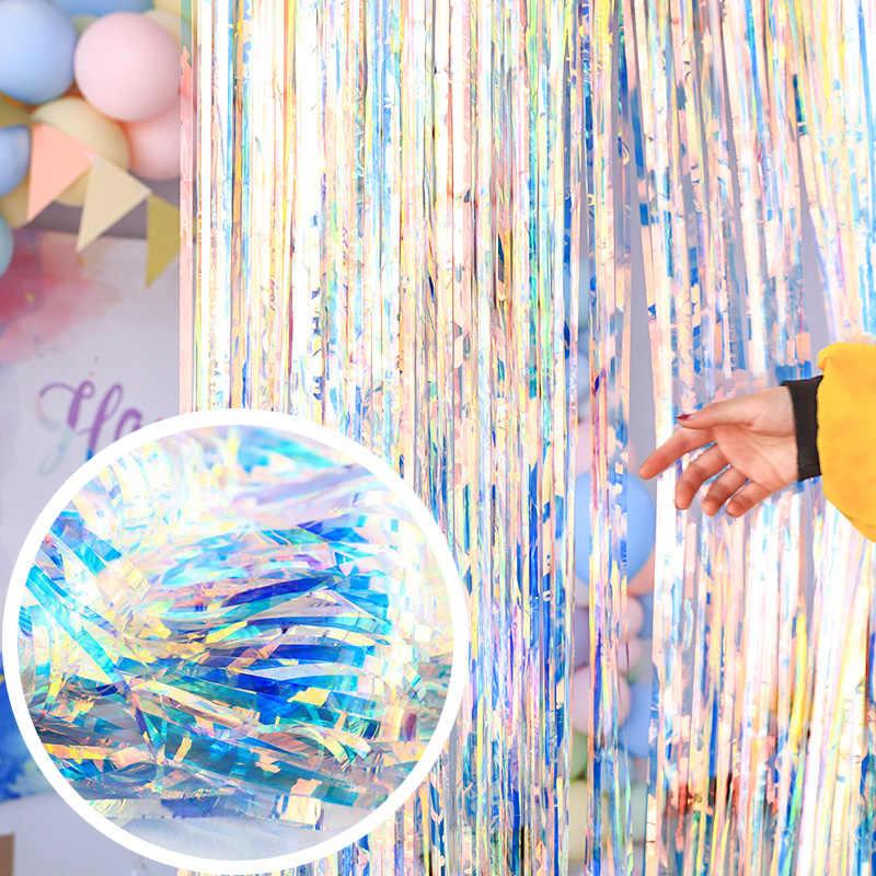 Festa de aniversário casamento decoração pano de fundo cortinas brilho brilhante fringe folha de estanho cortina do chuveiro do bebê aniversário atacado