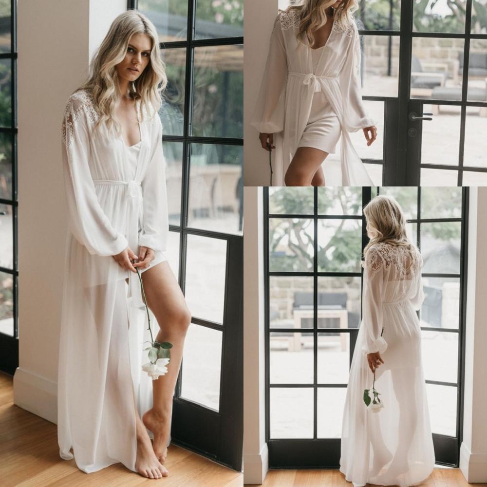 White Chiffon Bridal Robe Nightgown Night Dress Lace Belt Long Sleeves Sleepwear Nightdress Women Nightwear Bridal Boudoir Dress