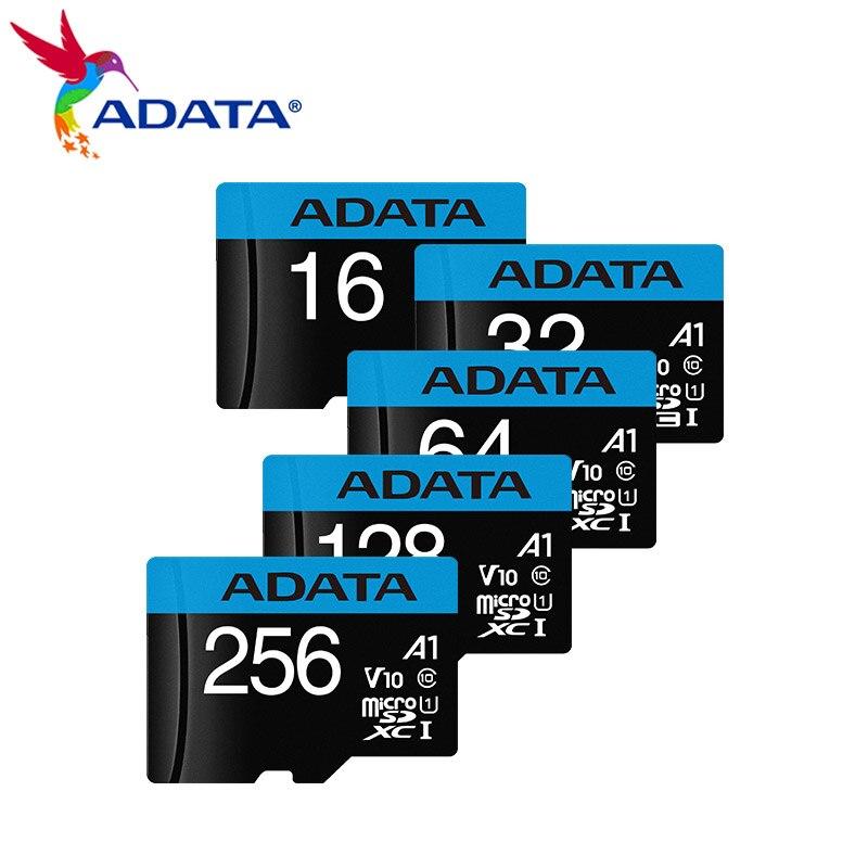 Оригинальный ADATA PREMIER microSDXC A1 64 Гб 128 ГБ 256 ГБ оперативной памяти, 16 Гб встроенной памяти, 32 ГБ SDHC C10 UHS-I TF карта флэш-карты с адаптером селфи-Стик
