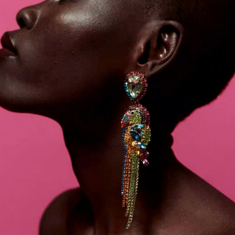 YMYW 2019 ZA Parrot Animal Colorful Rhinestone Luxury Dangle Earrings Boho Long Statement for Women Wedding Party Gifts