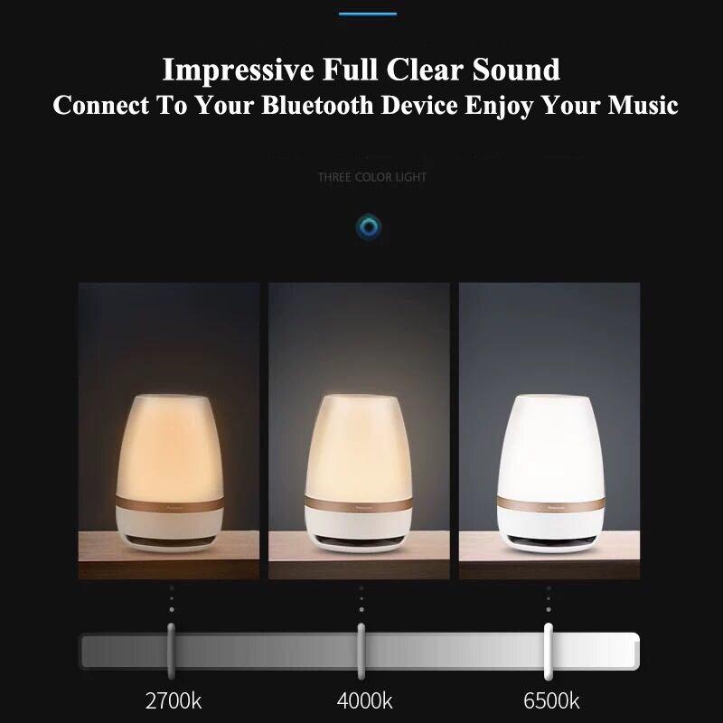 Falante Panasonic Sensor de Toque Bluetooth Speaker Luz LED Night Light Música Inteligente de Controle Remoto Sem Fio Lâmpada de Mesa - 3