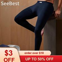 SeeBest Mens Leggings Bottom Cotton Long Johns Thermal Under
