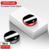 20000mAh Mini Power Bank Externe Batterie Bank Spiegel Display 2.1A Quick Charge Runde Power tragbare ladegerät für smartphone