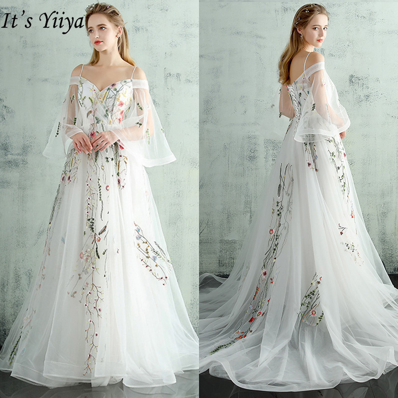 It's Yiiya Evening Dresses White 2019 Boat Neck Flare Sleeves Party Dresses Elegant Appliques Luxury Train Robe De Soiree LX232