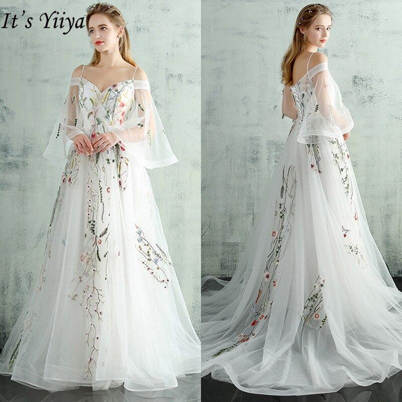 It's Yiiya Evening Dresses White 2019 Boat Neck Flare Sleeves Party Dresses Elegant Appliques Luxury Train Robe de soiree LX232