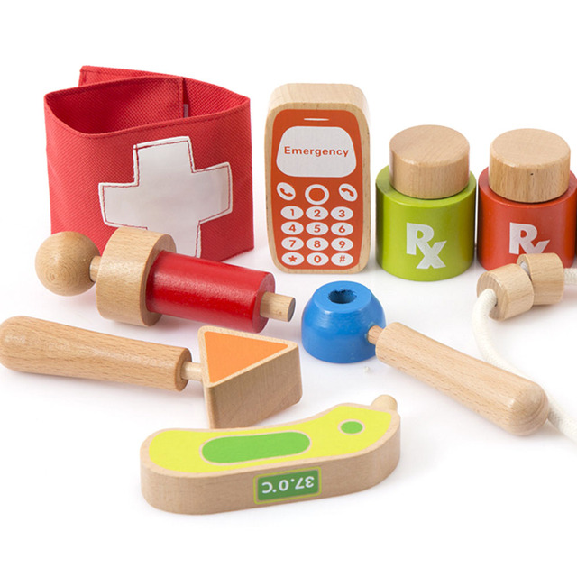 Wood Doctor Toy Portable Kids Clic
