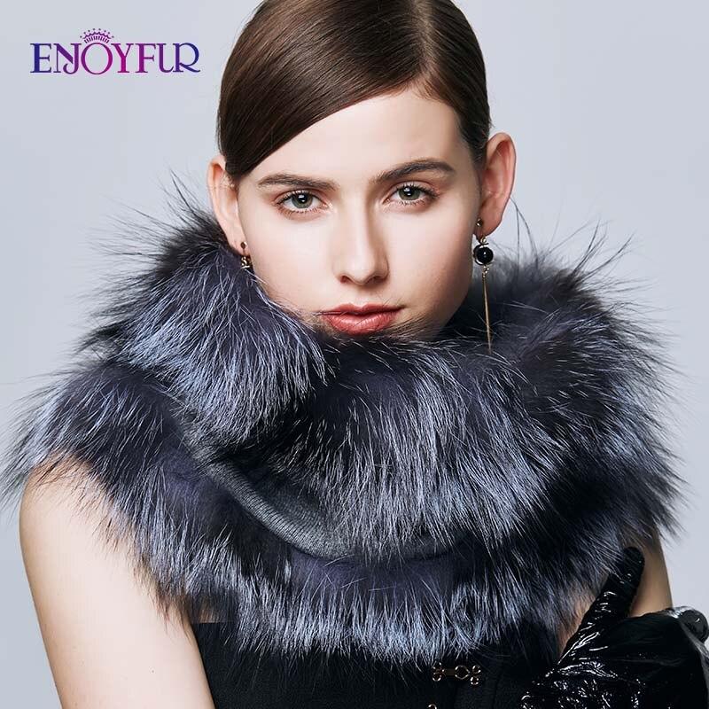 ENJOYFUR Luxury Brand Scarf Female Real Silver Fox Fur Women Scarf Winter Wraps Warm Cashmere Lic Shawl Shoulder Ladies Scarves