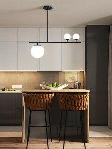 Image 4 - الحديث بسيط أسود/ذهبي قلادة LED ضوء الألومنيوم كرة زجاجية مصباح معلق ل الشمال الطعام غرفة المعيشة غرفة نوم تركيبات