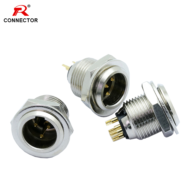 1pc Mini XLR Connector,Female Socket,Aviation Microphone Connector,Zinc Alloy+copper Pins With Gold Plated, 3 4 5 Pins Available