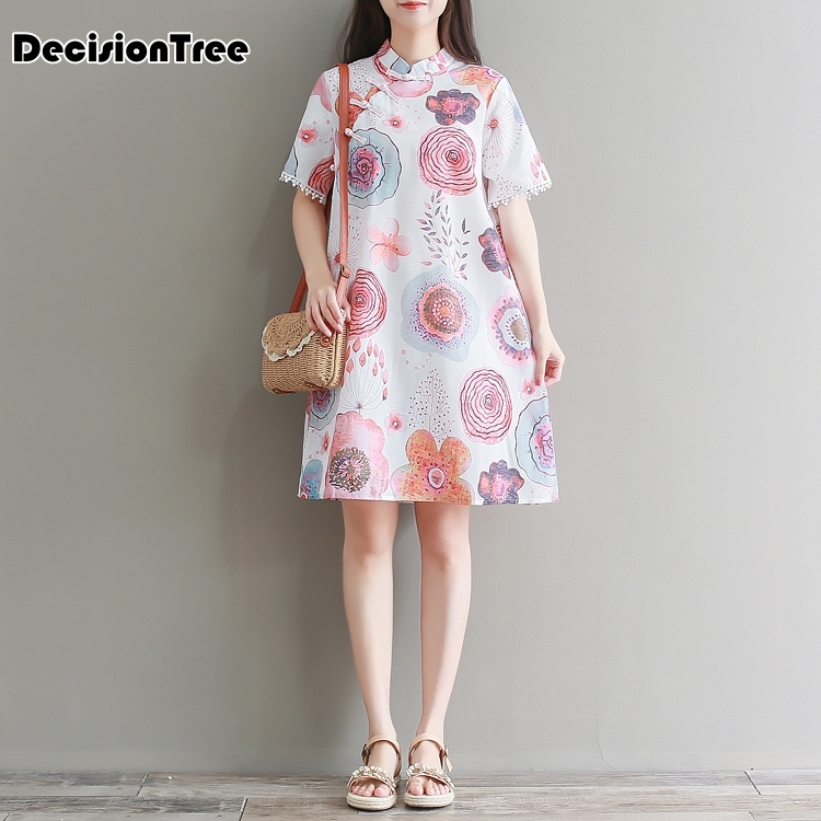 2020 Chinese Dress Cheongsam Qipao Cheongsam Modern Retro Vestido Qipao Dress Traditional Mandarin Collar Vestido Flower Printed