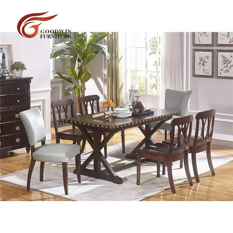 table a manger et chaise en cuir et en bois avec classique couleur foncee meuble de salle a manger wa431