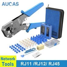 Aucas rj45 crimper lan testador cabo rastreador mikrotik ferramentas de friso equipamentos rede krimptang noyafa naruto rj11 fiação