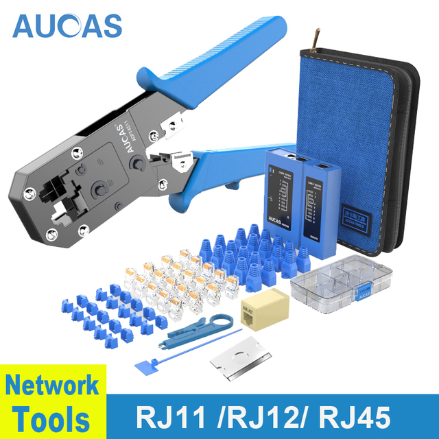 AUCAS Rj45 Crimper Lan Tester Cable Tracker Mikrotik Crimping Tools Network Equipment Krimptang Noyafa Naruto RJ11 Wiring