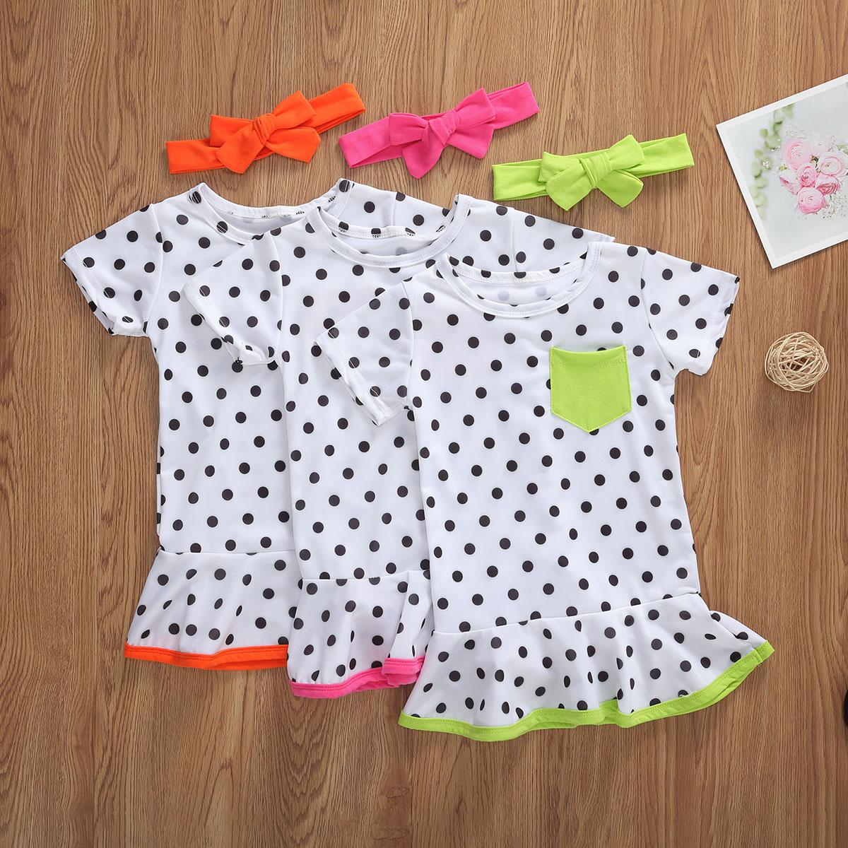 US $5.5 Summer kids casual plain dresses Fashion New Infant Toddler Baby  Girls Ruffle A line Sundress Short sleeve Polka Dots DressesDresses -