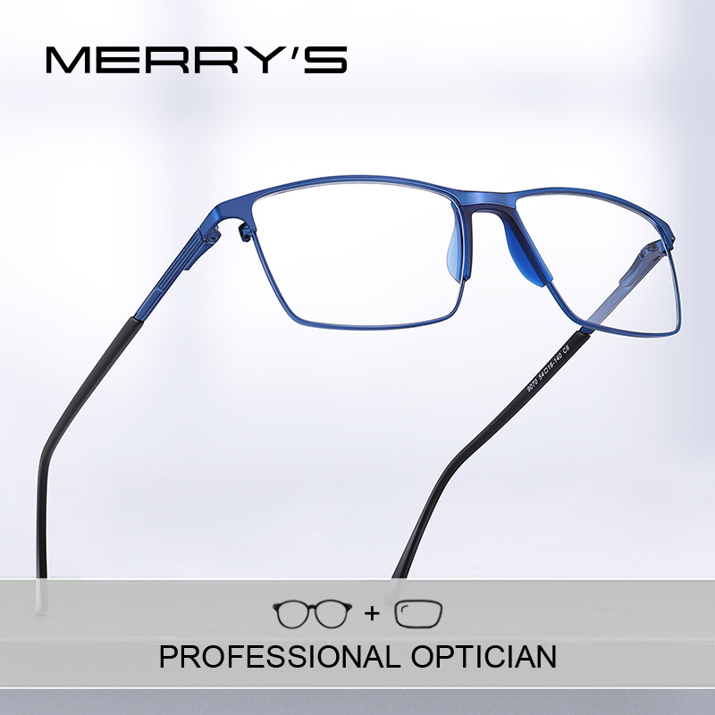 MERRYS DESIGN Men Titanium Prescription Glasses Square Myopia Full Frames Eyeglasses Male Business Style Optical Glasses S2170PG