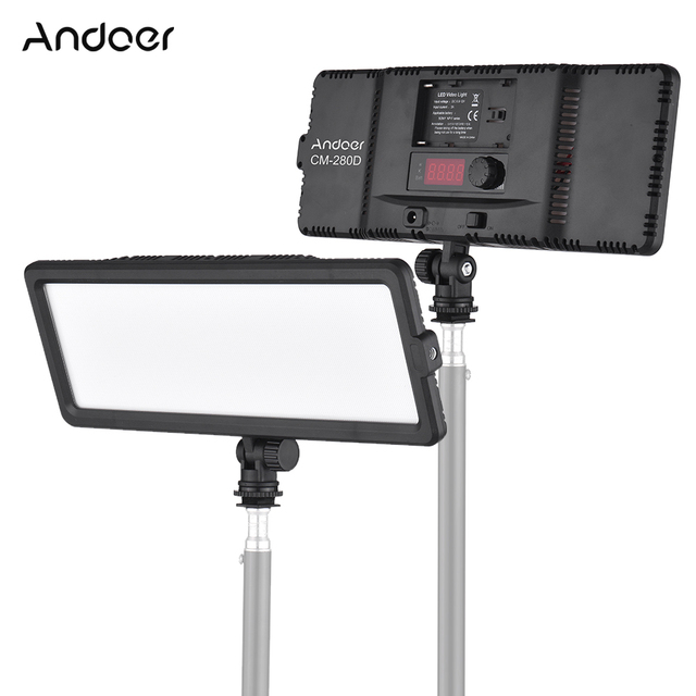 Andoer סופר דק LED וידאו אור לוח 3200 K 5600 K דו צבע Dimmable בהירות עם קר נעל הר עבור Canon Nikon Sony DSLR