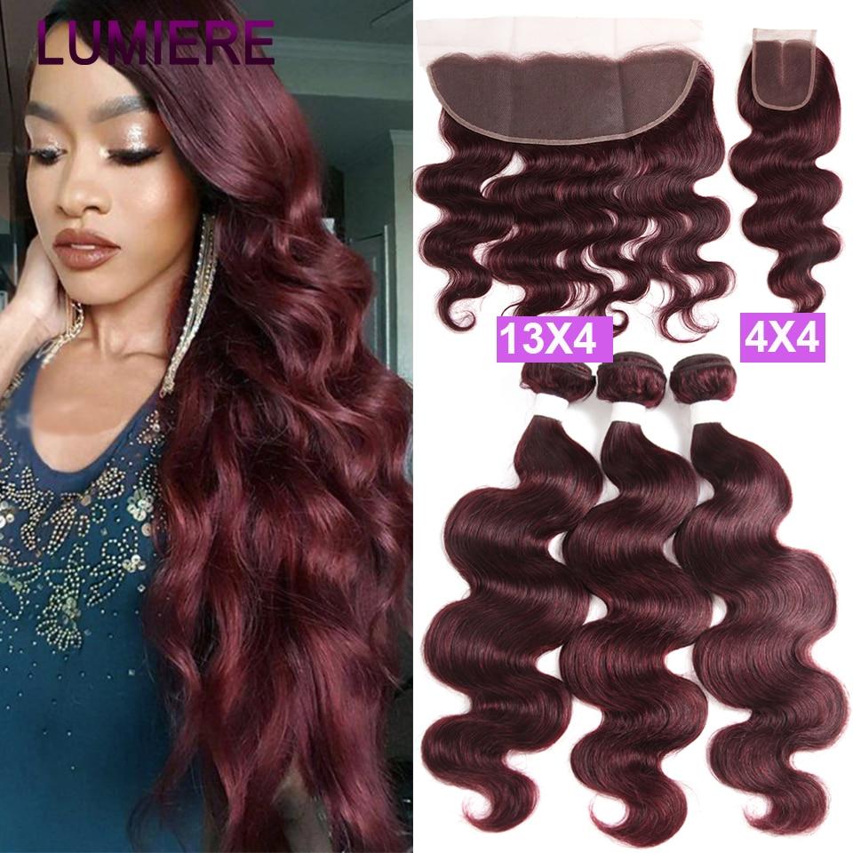 99J/Burgund Körper Welle Menschliches Haar Bundles mit Verschluss Brasilianische Haar Bundles mit Frontal 100% Remy Haar Bundles mit frontal