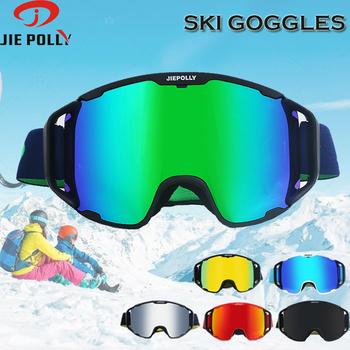 Zima narciarskie gogle UV400 anti-fog narciarstwo okulary mężczyźni kobiety maska okulary dla dorosłych gogle narciarskie i do snowboardu na gorąco sprzedaży tanie i dobre opinie jiepolly MULTI Poliwęglan 21cm FJ044 1 05cm