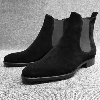Chelsea Boots Men Slip On Pointed Toe Ankle Boots Fashion Faux Suede Male Casual Shoes Solid Low Heels Winter Boots For Man D40 suede winter booties thick soled high quality platform boots chelsea faux fur sole top men slip on casual shoes genuine leather