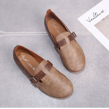 Vintage Comfort Soft Leather Work Loafers 2020 New Slip On Round Toe One-line Buckle Belt Flat Shoes Women Office Lady Flats 2016 new women fashion flat patent leather round toe work shoes and slip on flats 6 colors in the same shoes plus size 35 42 page 9