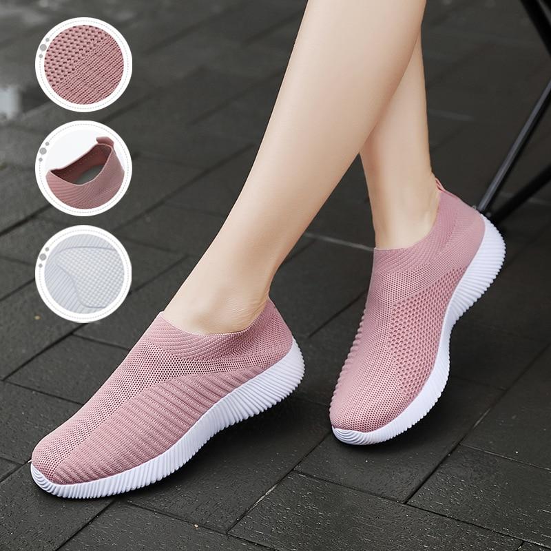2019 Women Sneakers Vulcanized Shoes Sock Casual Sneakers Women Summer Slip On Flat Shoes Women Plus Size Loafers Walking Flat