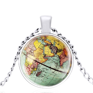2020 New Four color Beautiful Earth Map Dome Metal Classical Beautiful Necklace Retro Men and Women Jewelry Gift