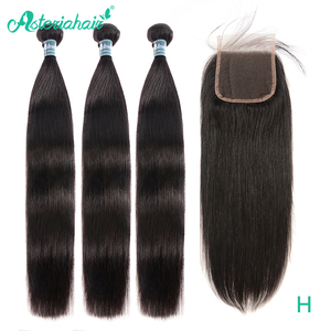 ASTERIA HAIR Peruvian Straight Hair 3 Bundles With Closure 4X4 Natural Human Hair Bundles With Lace Closure Remy Hair Extension(China)