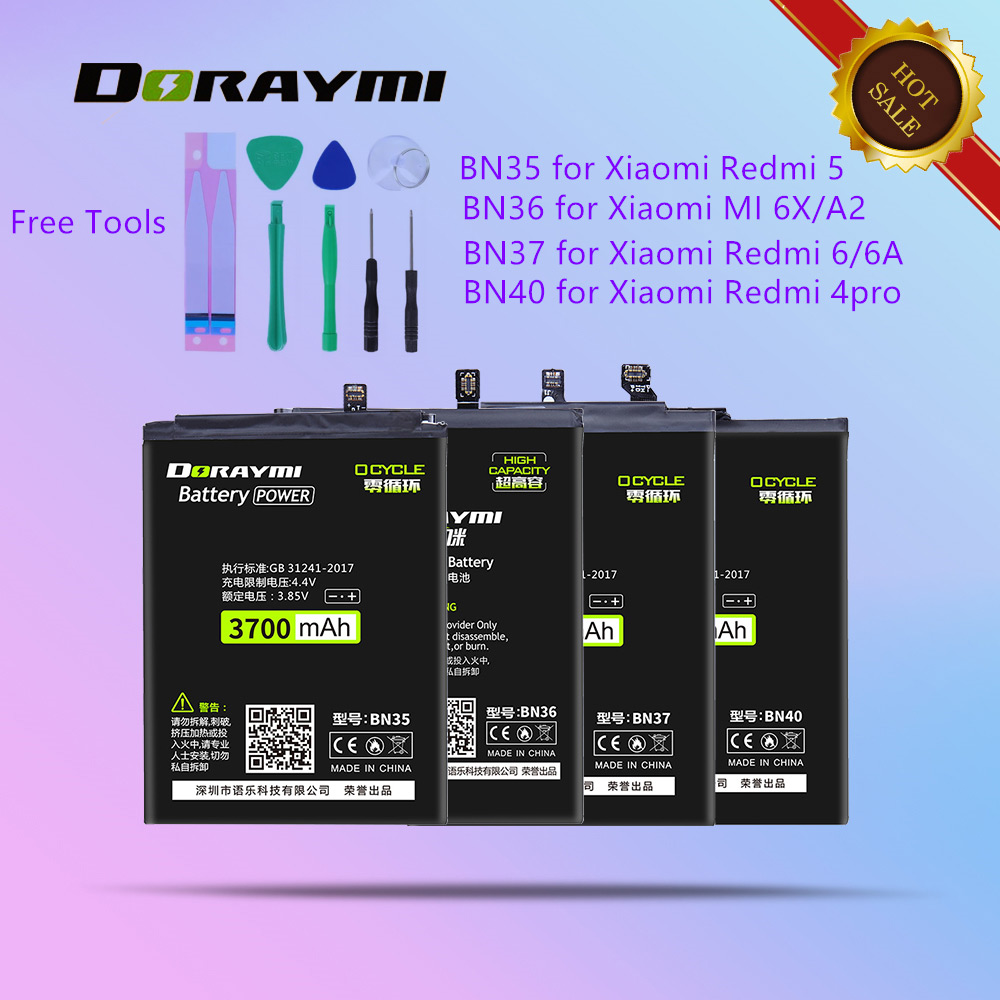 DORAYMI BN36 <font><b>Battery</b></font> for Xiaomi <font><b>MI</b></font> <font><b>6X</b></font> A2 MI6X MIA2 Phone <font><b>Batteries</b></font> BN35 BN37 BN40 for Redmi 4 Pro 5 6 6A Replacement Bateria image